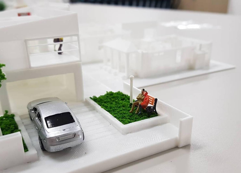 Tạo ra sa bàn - mô hình kiến trúc từ máy in 3D sợi nhựa. Điều này giúp cho các đơn vị làm sa bàn - mô hình kiến trúc tiết kiệm được rất nhiều thời gian & NL