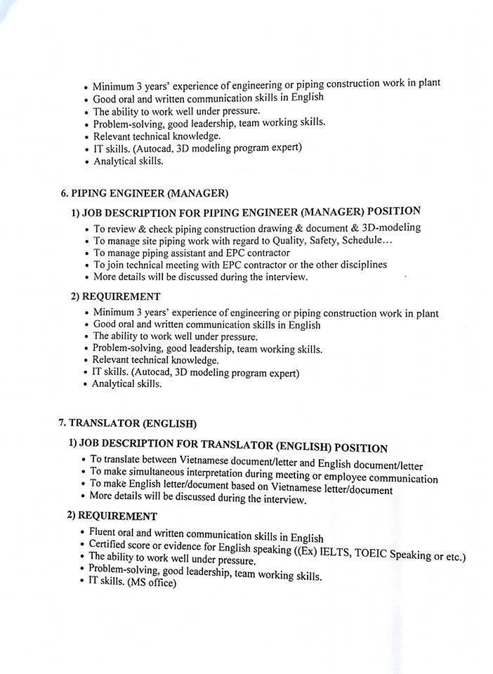 Hyosung tuyển dụng kỹ sư cơ khí, xây dựng,...   TUYỂN DỤNG   Civil Engineer; Architecture Engineer; Electric Engineer; Piping Engineer; English Translator.