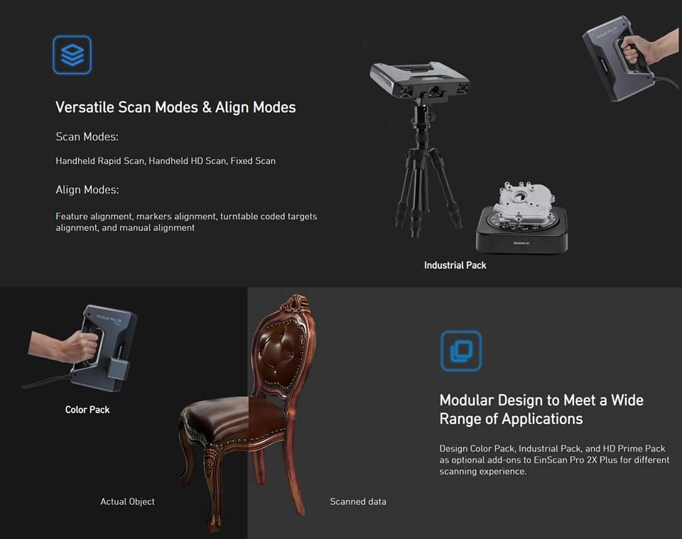Thông số kỹ thuật máy quét 3D đa năng Einscan Pro 2X Plus: