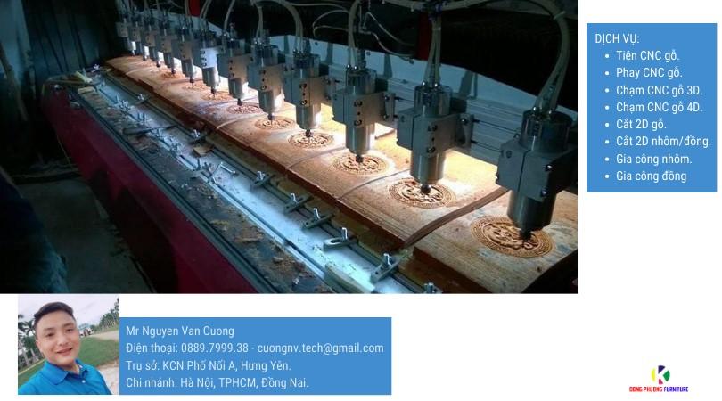Dịch vụ gia công tiện cnc, phay cnc, chạm cnc bao gồm: Vật liệu: gỗ, ván ép mdf, đá, ngọc, nhôm, đồng, xi măng, bê tông... Công nghệ: tự động và thủ công, cắt 2d, lọng, chạm 2.5d phù điêu, chạm 3d, chạm 4d, tiện, phay, đục lỗ, khoan lỗ chính xác cao,...
