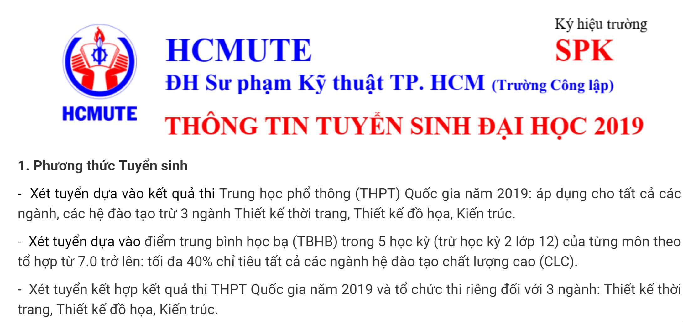 1. Phương thức Tuyển sinh |ĐH SPKT Tuyển sinh 2019.
