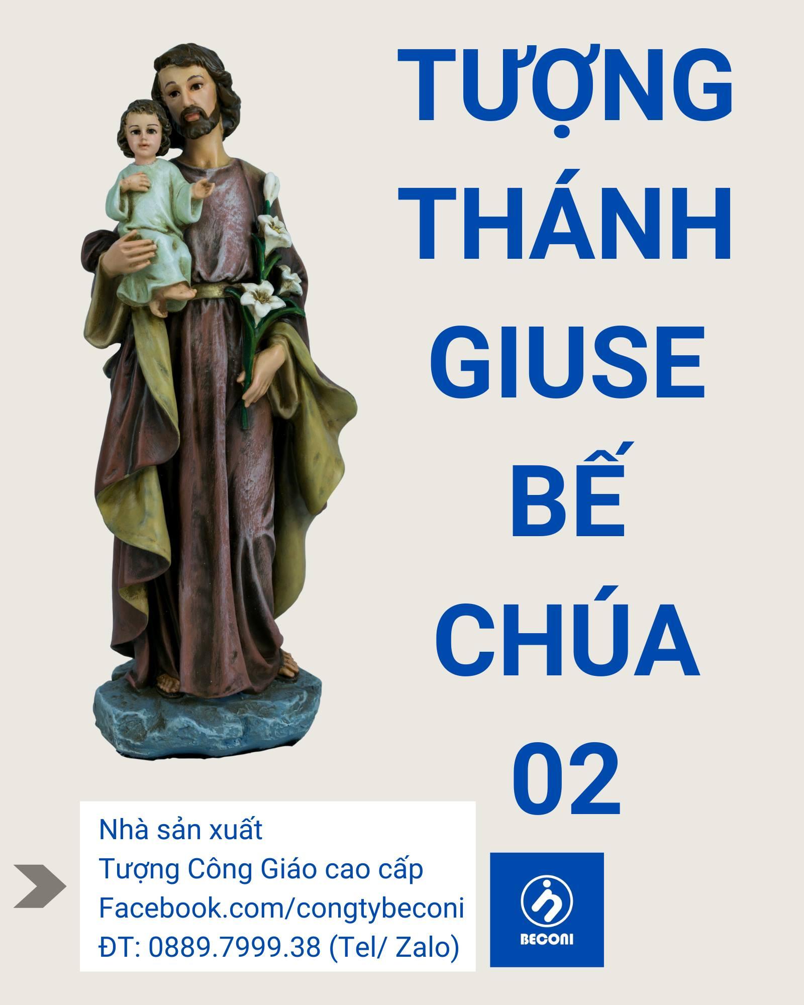 Tượng Thánh Giuse Bế Chúa Mẫu 02 Beconi Tượng công giáo cao cấp