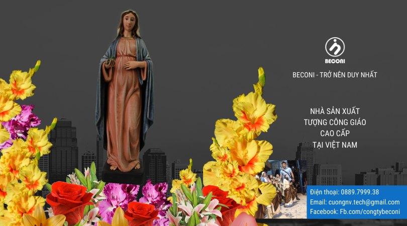 Tượng Đức Mẹ đẹp - Beconi | Tượng Công Giáo cao cấp sản xuất quy trình thủ công, vẽ màu nhiều lớp, bảo hành Tượng Đức Mẹ 07 năm. Đảm bảo đẹp và chất nhất...
